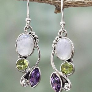 Jewelry - New Natural Moonstone and Gem Earrings